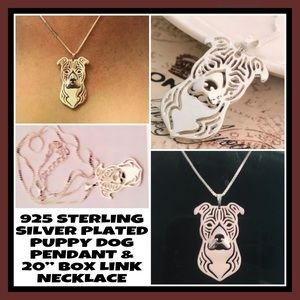 NWT! 925SSP PUPPY DOG PEND/BOX-LINK NECKLACE+X-TRA